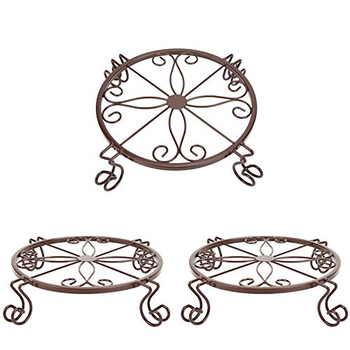 TENRIOS Metal Plant Stands for Flower Pot Heavy Duty Potted Holder Indoor Outdoor Rustproof Iron Garden Container Round Supports Rack for Planter 3 Pack Bronze