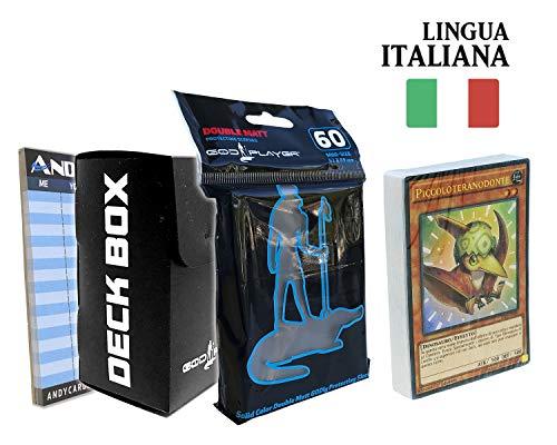 Andycards Structure Deck Furia del Dinodistractor – Ramo Yugioh SR04 en italiano + 60 bolsitas protectoras God-Player negras + Deck Box negro + marcadores de puntuación