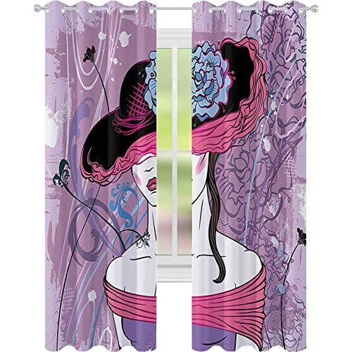 Cortinas opacas para dormitorio, Noble Lady From The Past con sombrero nostálgico en telón de fondo vintage con detalles grunge, cortina opaca de 52 x 108 para sala de estar, rosa y morado