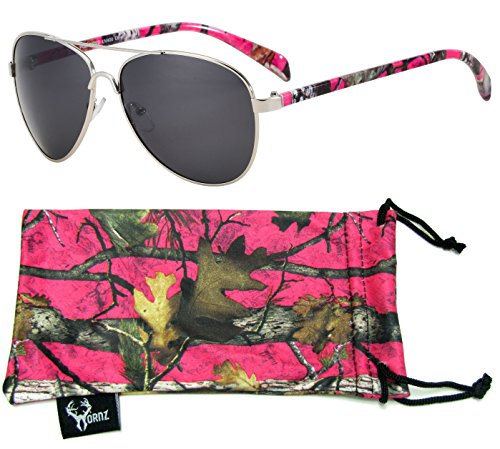 Hornz Hot Pink Camouflage Polarized Aviator Sunglasses for Women & Free Matching Microfiber...