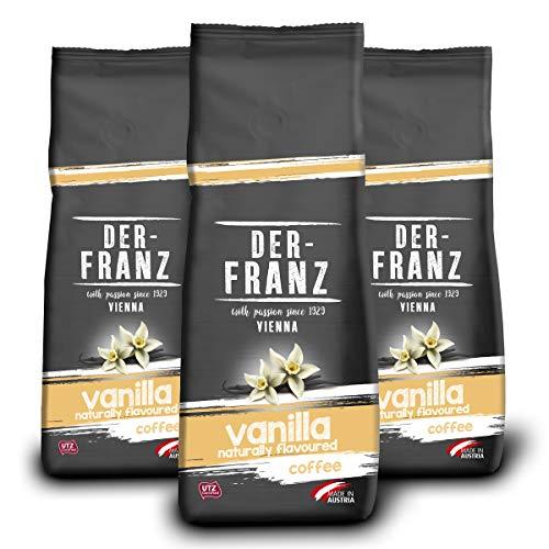 Der-Franz Kaffee, Mischung aus Arabica und Robusta, geröstet, ganze Bohne aromatisiert mit natürlicher Vanille UTZ, 3x500g