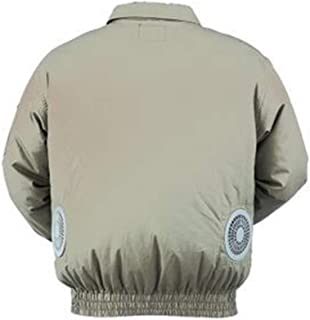 Air Conditioned Clothes with Cooling Fan Summer Outdoor Sports High Temperature Environment Workwear Preventing Sunstroke Zipper Jacket for Fishing Hunting Builder Cycling (L/US XL, Beige)