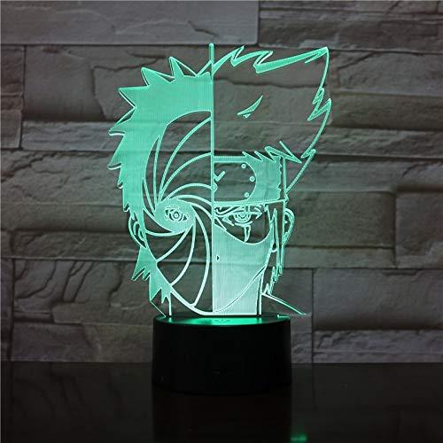 Naruto Desk Lamp Hatake Kakashi 3D Optical Bedside Lamp RGB 7colorful LED Sleep Night Light USB Touching Lamp Kids gift 2892