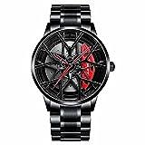 DriftElement Motorsport Felgenuhr Herren - Sportwagen Männer Armbanduhr im 3D Design der Sternspeichen M8 Felge aus Edelstahl - Custom Designer Uhr mit Mineralglas - Quarzuhr