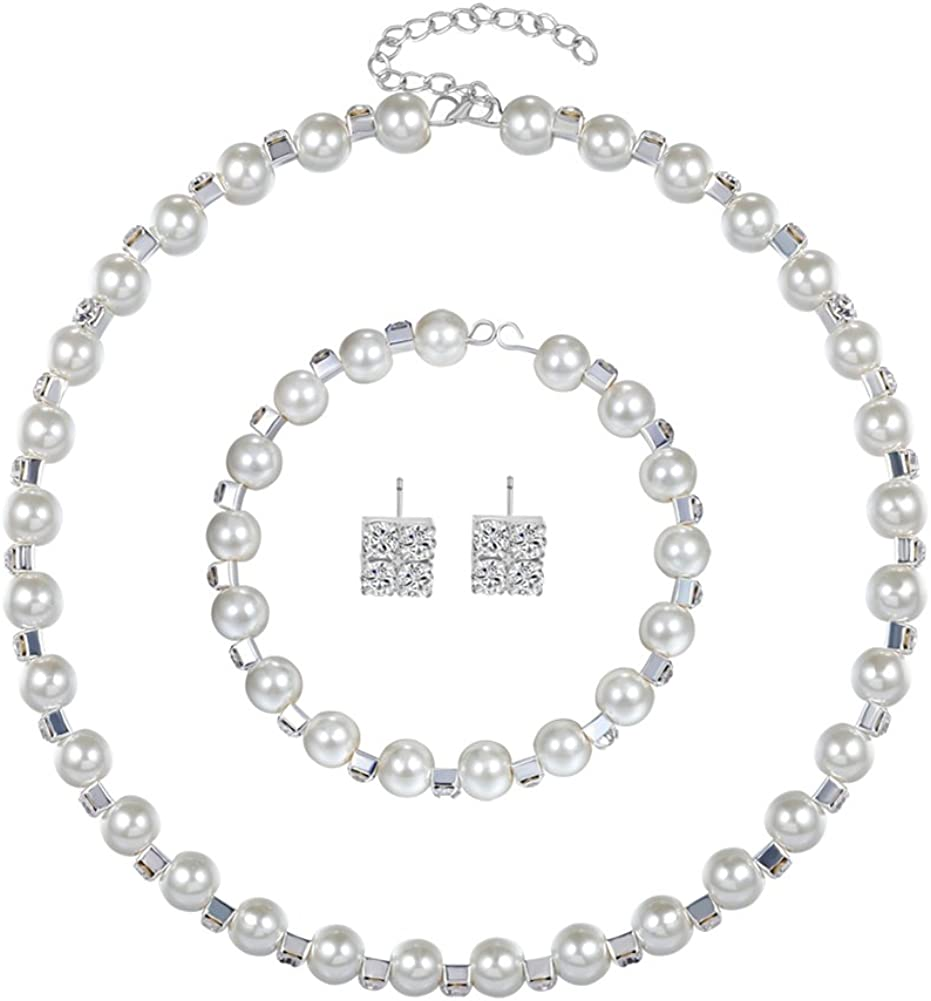Aland Elegant Women Faux Pearl Necklace Bracelet Stud Earrings Jewelry Set Party Gift Pearl Three-Piece Set White