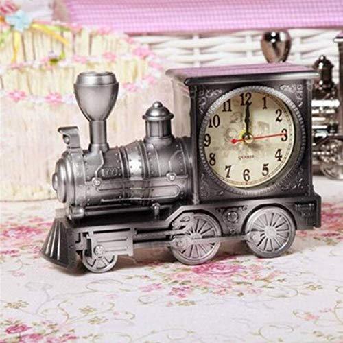 XGBDTJ Retro Zug Kreative Wecker Vintage Simulation Dampflok Quartz Wecker Dekor Geschenk Mode Living Bronze Wanduhr Antik Vintage Design Rustikal Modern Wohnzimmer Style