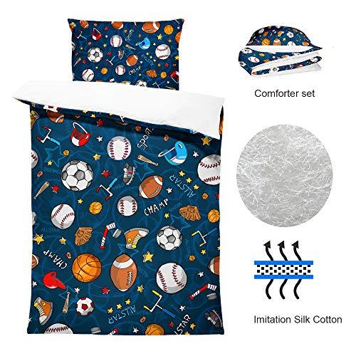 SHINICHISTAR Boys Comforter Set,Baseball and Football Bedding Twin Size for Teens,Sports Fans.