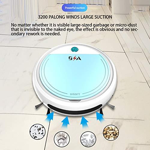 Super Suction Robotic Vacuum Cleaner - Smart Sweeping Robot Vacuum Cleaner Floor Edge Dust Clean Auto Suction Sweeper for Pet Hair, Hard Floor, Carpet (25x25x7cm, White)