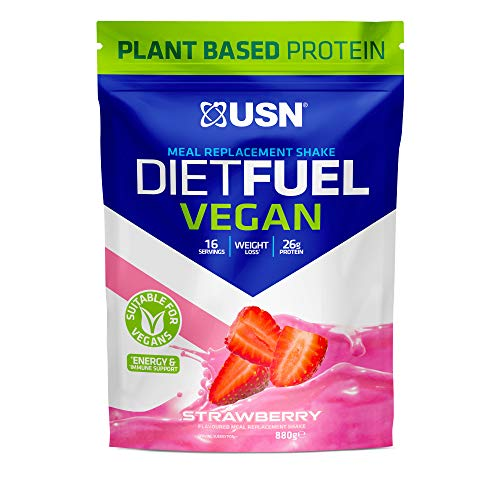 USN Diet Fuel Vegan Strawberry 880 g: Dairy Free Vegan Meal Replacement Shake and Vegan Protein Powders
