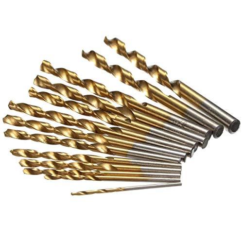 YAeele Perforar 1.5-6.5mm 13pcs HSS Brocas de Titanio Set caña Recta Espiral Accesorios Taladro Herramientas industriales