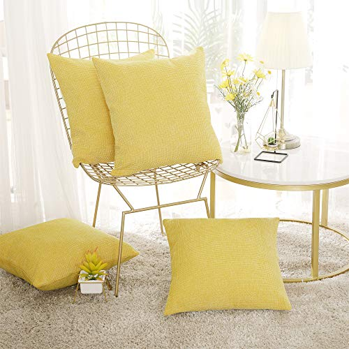 Deconovo Set of 4 Square Pillow Covers Chenille Faux Linen Cushion Covers Outdoor Cushion Covers for Children with Invisible Zippers Yellow 40x40cm
