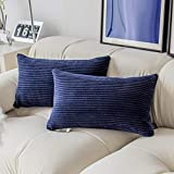 Demetex Rectangle Throw Pillow Covers for Couch Set of 2 Solid Accent Corduroy Oblong Pillow Cases for Sofa Office Toddler, 12 x 20 inch(30x50 cm), Navy Blue