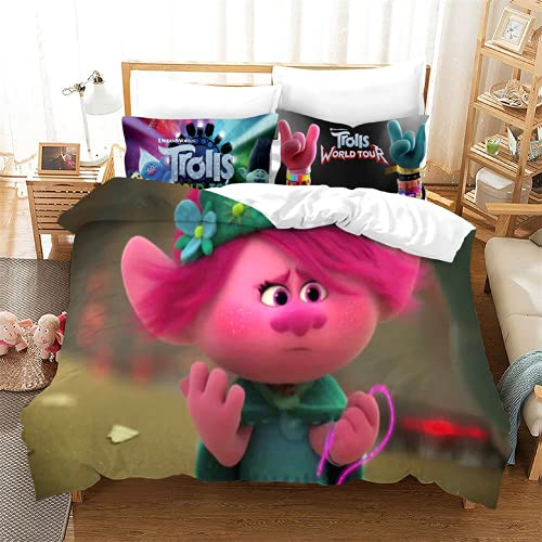 Ropa de cama 135 x 200 Troll World Tour Juego de ropa de cama, funda nórdica con cremallera, suave microfibra hipoalergénica, 1 funda nórdica de 135 x 200 cm + 2 fundas de almohada de 80 x 80 cm