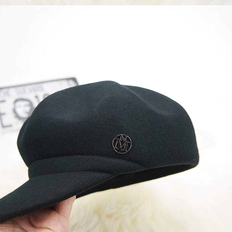 Beret Hat Octagonal Female Wool Hat Letter Painter Hat Woolen Hat Fashion