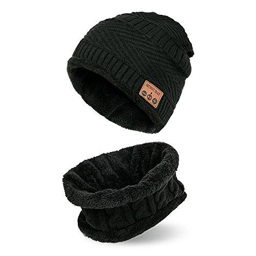 Draadloze kap voor handmuziek met sjaal, stereo hoofdtelefoon met handsfree functie voor sport in de vrije natuur warm voor dames Zwart