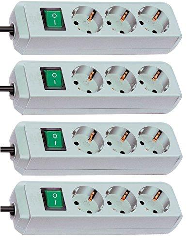 Preisvergleich Produktbild 4er Sparpack Brennenstuhl Eco-Line Steckdosenleiste 3-fach mit Schalter