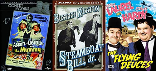 Greats of Comedy Legends Icons Steamboat Bill Jr. Buster Keaton + Flying Deuces Laurel & Hardy + Abbot & Costello Meets the Mummy Triple DVD Set