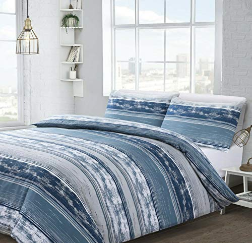 ShawsDirect Brooklyn Stripe Design Duvet Quilt Cover Duvet Cover set - Single/Double/King Size (Blue, Single Size Bed)