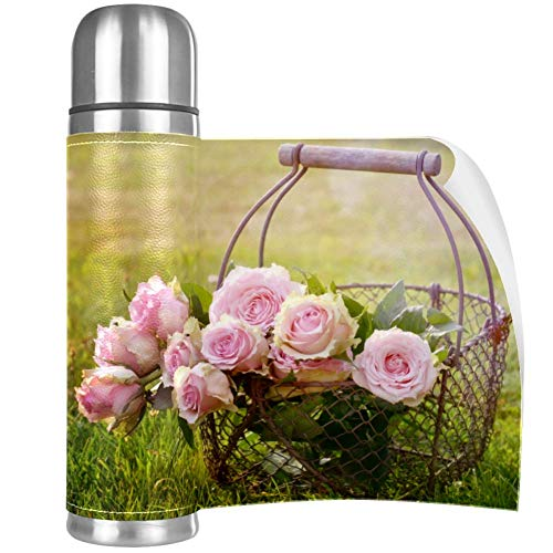 Garden Rose Pink Stainless Steel Mug Vacuum Insulated Tumbler Travel Tumbler Thermos Stainless with Lid Best Gift for Children 16.9OZ