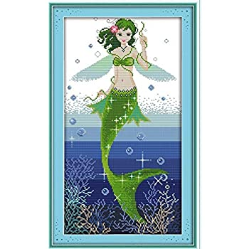 5D DIY Diamond Painting NOMSOCR Full Drill Mermaid Embroidery Rhinestone Cross Stitch Wall Arts Craft Supply Diamond Painting by Number Kits Home Decor Mermaid
