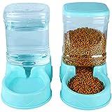 Dispensadores de pienso para Mascotas Dispensador automático de Comida y Agua Comedero y Bebedero para Gatos Animales,Azul