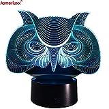 Solo 1 pieza Owl 3D LED Night Night Baby Room Decoración Lámpara Acrílico Color que cambia las luces de la mesa Cartoon Owl Light 3D LED Animal Night Gift