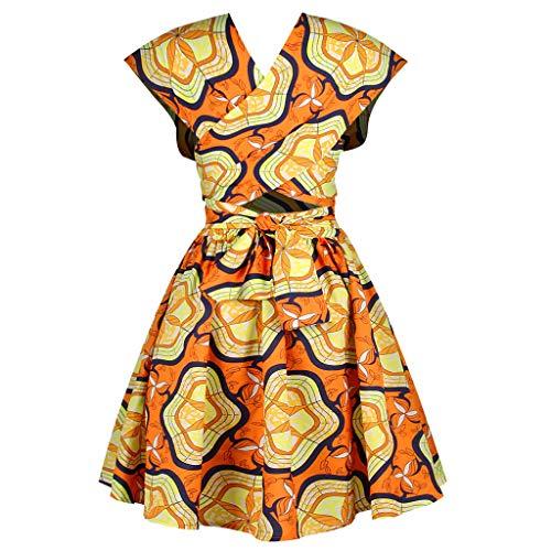 Damen Kleider Sommer Herbst Schulterfrei V Ausschnitt Ärmellos Sexy Strandkleid Jeanskleid Kleid Stretch Großer Größe Boho Kleid Polyester Bedruckt Partykleid Poncho Kleid (EU:38, Gelb)