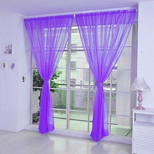 Vorhang Timogee Transparent Gardinen Transparent Schlaufenschal 200cm x 100cm (L x W), Voile Tür Fenster Vorhang Balkon,gardinen für Schlafzimmer,kräuselband gardinen (C)