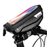 Zingso Bolsa Bicicleta Manillar para Ciclista Ciclismo, Bolsa Bici con Soporte para Telefono Móvil, Bolso Bicicleta Impermeable y con Ventana para Pantalla Táctil de hasta 6,5'' (Negro)