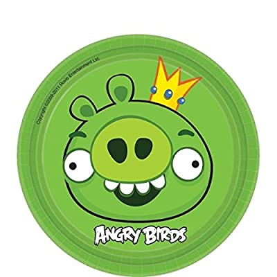 """amscan Angry Birds Adventure Birthday Party King Pig Round Dessert Plates (Pack of 8), Green, 7"""""""