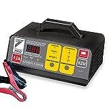 AUTO7 708945 - Caricabatterie, 100% Automatico, 12 A, 12 V, Colore: Grigio/Nero
