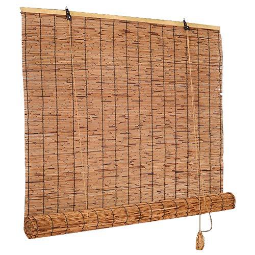 kufu01 Persianas Enrollables de Bambú de Carbonización Retro,Estores de Ventana de Gazebo,Persianas de Caña de Ventilación de Sombra,para Pared/Cerca/Privacidad/Partición (80x150cm/32x59in)