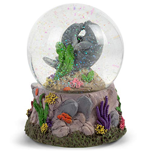 Elanze Designs Manatees Playing in Ocean 100MM Music Water Globe Plays Tune Somewhere in Time
