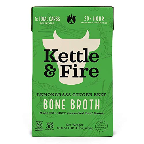 KETTLE & FIRE Bone Broth Soup, Pho Lemongrass ginger Beef, 16.9 Oz (Package may vary)