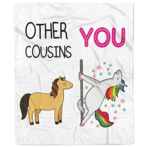Flannel Blanket-Personalized Fleece Bed Throw Gift for Cousin, Sisters, Siblings, Warm Cozy Soft Blanket- 1 Sheet(Unicorn)