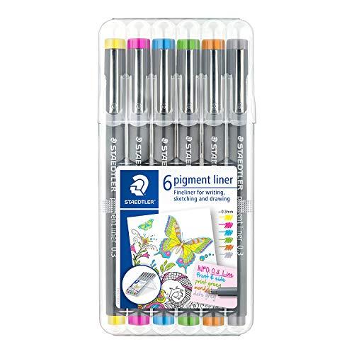 Canetas para Desenho Técnico Artístico, Staedtler, Pigmente Liner, 30805S2B6, 0.3mm, 6 Cores