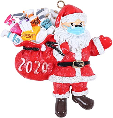 Broadtech Christmas Ornaments, Personalized 2020 Christmas Ornament Quarantine Kit with Toilet Paper, Customized Family Name Christmas Decorating Set Creative Friends Gift