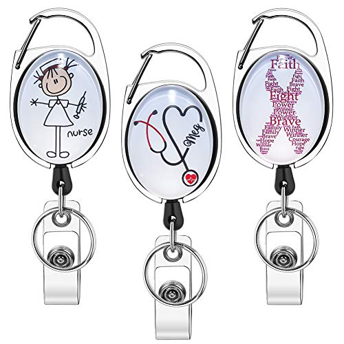 Xoqo Heavy Duty Retractable with Carabiner Badge Reel, Crystal Glass Badge Holder with Belt Clip and Key Ring, Badge Holders for Office Worker Doctor Nurse 3 Pack (Doctor and Nurse)