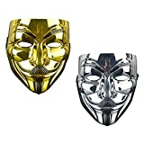 Junyulim 2ps Anonymous Mask Vendetta Mask for Masquerade Party Halloween Cosplay (Gold+Silver)