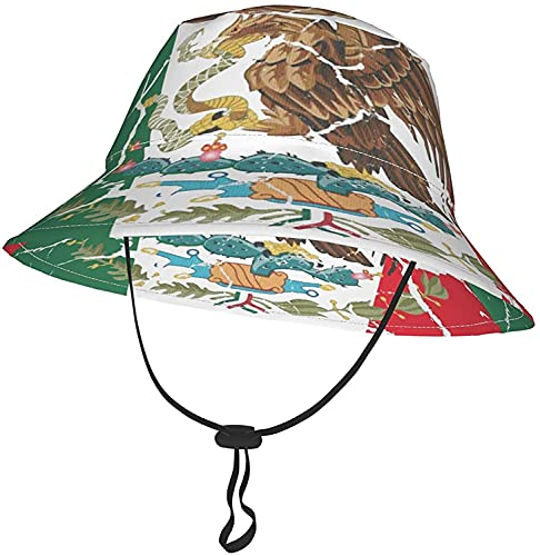 KEROTA Sombrero de cubo de la bandera de México para bebés y niñas, sombrero ajustable de verano para playa 2-4T