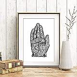 Din A4 Kunstdruck ungerahmt Wahrsagen Hand Handlesen'Chart of the hand' Esoterik Charakter Zukunft Tarot Druck Poster Bild