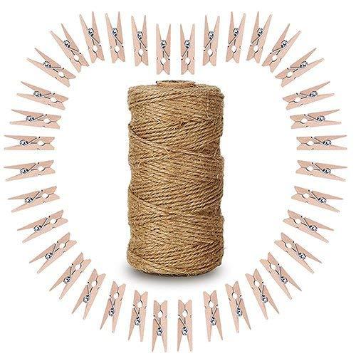 100piezas de madera Clips de fotos, 3,5cm con pinzas con 300pies Natural Yute Twine perfecto para Diy amante (Natural)