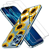 Clear Floral TPU Bumper Case with Screen Protector for iPhone 12 Pro Max