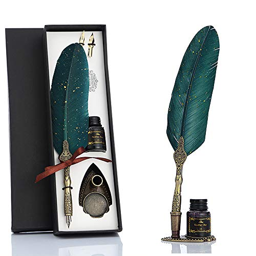 VANGOAL Feather Pen and Ink Set, Glittering Quill Pen Set Antique Calligraphy Dip Pen with Ink, 2 Replacement Nibs, Pen Stand Base, Luxury Vintage Signature Pen (Green)