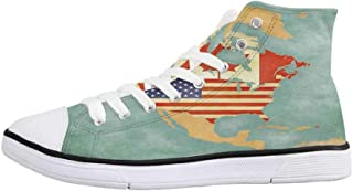 Wanderlust Decor Comfortable High Top Canvas Shoes,Scenic Summer View of The Old Town with Elbe River Embankment in Dresden Germany for Women Girls,US 5