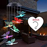 ecoeco Solar Wind Chime Color Changing Solar Mobile Transparent Butterfly Wind Chime LED Outdoor Mobile, Memorial Wind Chimes(Gifts for mom)
