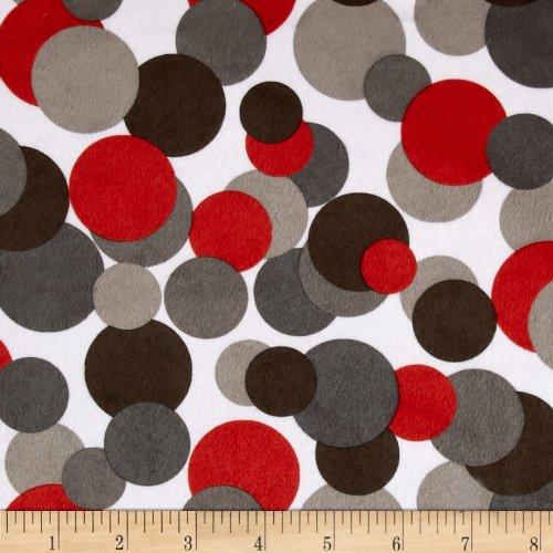 EZ Fabrics E.Z. Fabric Minky Candy Circles, Yard, White/Grey/Black/Red