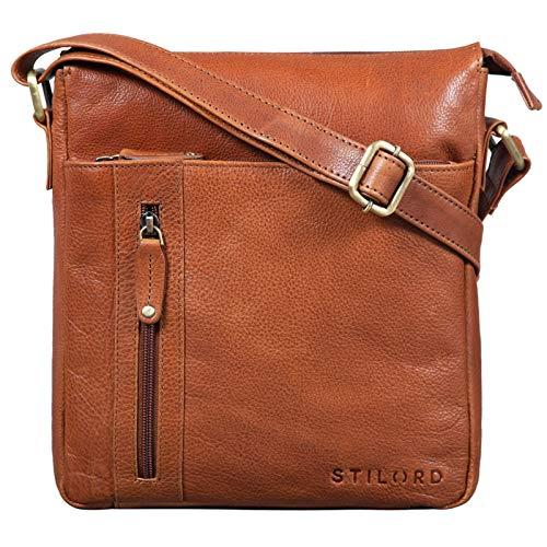 STILORD 'Brady' Messenger Bag Leder Braun klein Umhängetasche Schultertasche für iPad 10,1 Zoll Tabletttasche Echtes Leder, Farbe:Texas - braun
