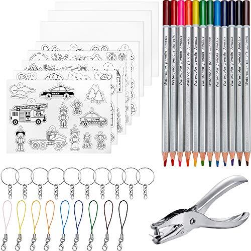Outus 41 Stücke Schrumpffolie Schrumpffolienplatten,inklusiv 8 Stücke Schrumpfende Plastikfolie, Schlüsselanhänger, Schließe und Bleistifte Locher für DIY Handwerk für Kinder