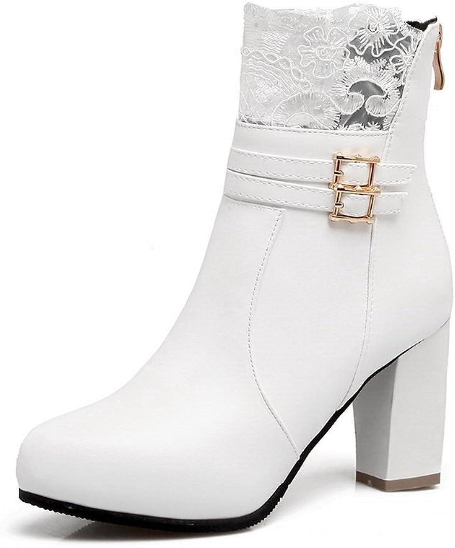 BalaMasa Womens Zipper Comfort Solid Urethane Boots